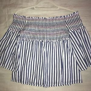 Off the shoulder bell sleeve striped top - size S